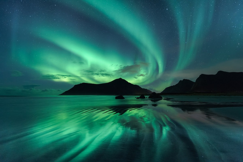 Hình ảnh bầu trời đêm cực quang