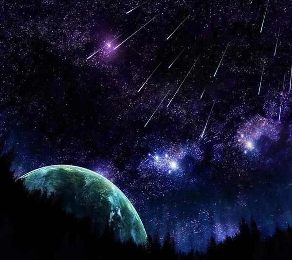 Hình ảnh bầu trời đêm sao băng 3D