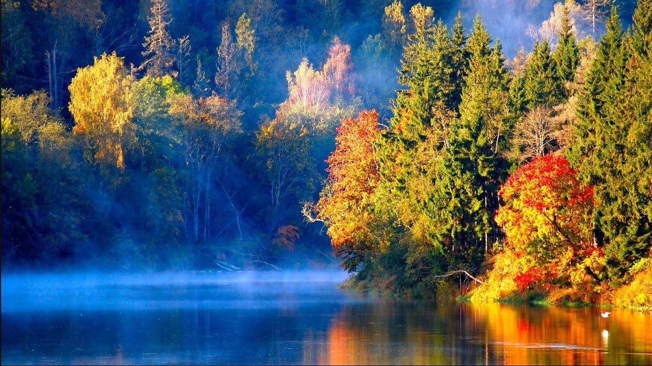 Mùa thu tuyệt diệu lá ngả đỏ vàng sương sớm phủ mặt hồ
