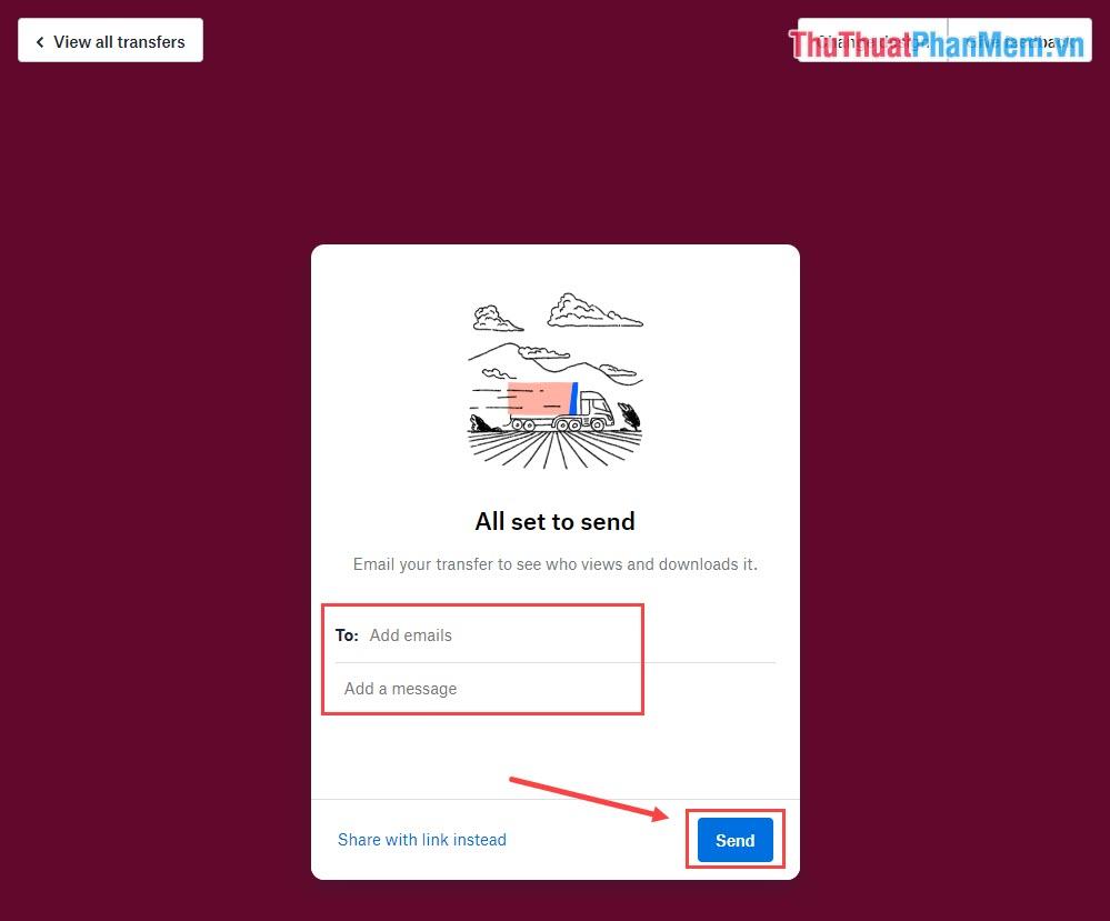Nhập tài khoản Email và nội dung rồi nhấn Send để gửi