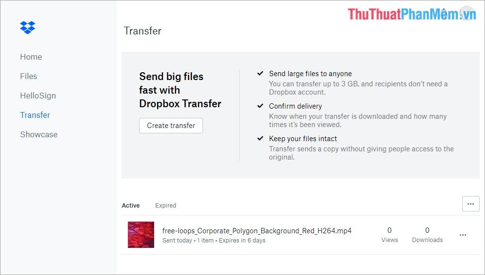 Tại trang chủ Dropbox bạn có thể theo dõi được thời gian còn lại, số lượt xem, số lượt tải về của Transfer