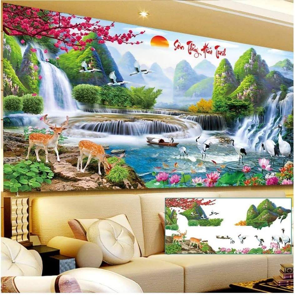 Bức tranh thêu chữ thập phong cảnh đẹp
