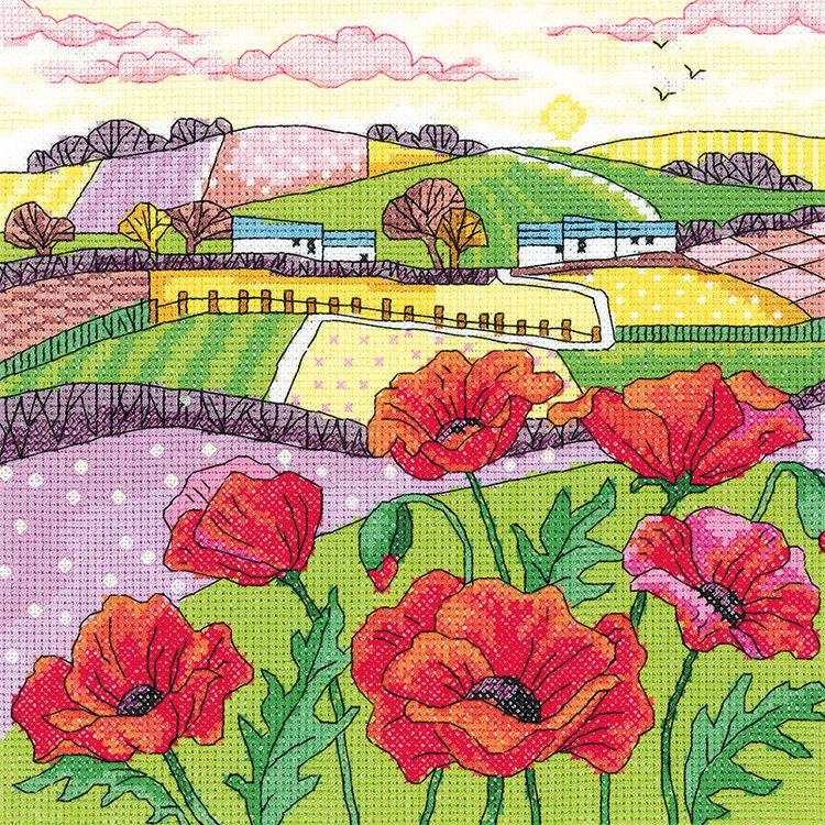 Bức tranh thêu chữ thập phong cảnh đồng quê