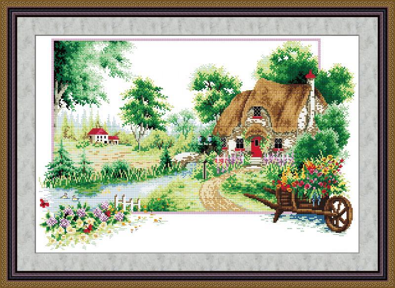 Bức tranh thêu chữ thập phong cảnh