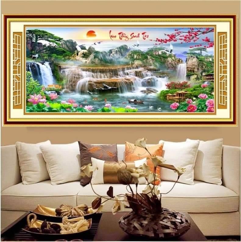 Hình ảnh tranh thêu chữ thập phong cảnh ở phòng khách