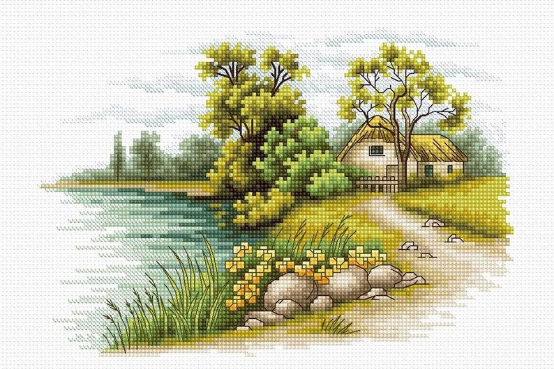 Mẫu tranh thêu chữ thập phong cảnh đồng quê