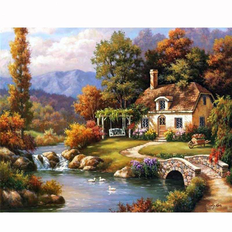 Mẫu tranh thêu chữ thập phong cảnh