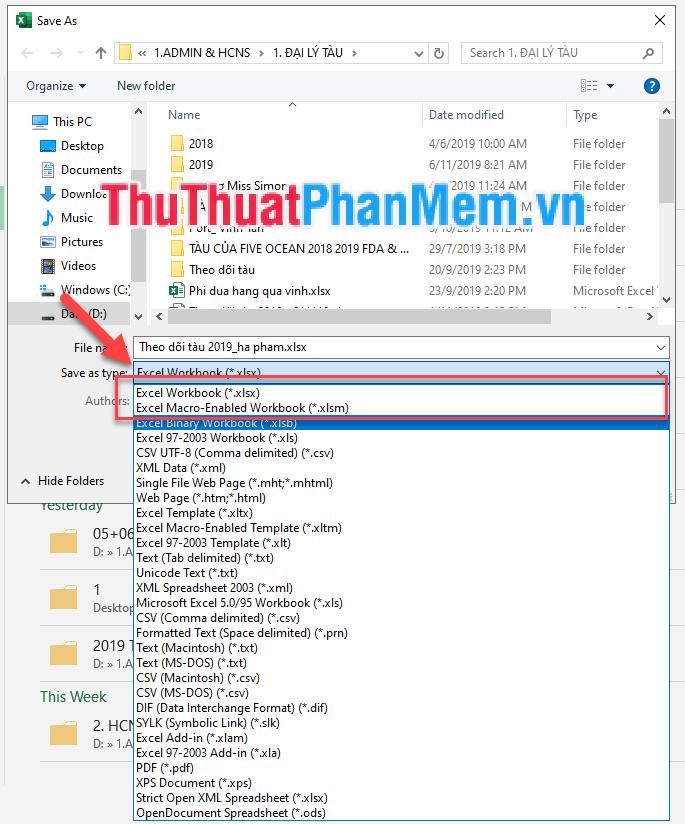 Thay đổi định dạng File