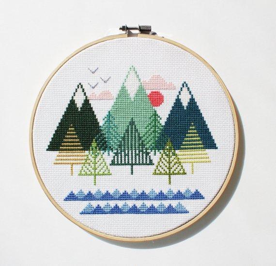 Tranh thêu chữ thập phong cảnh đơn giản mà đẹp