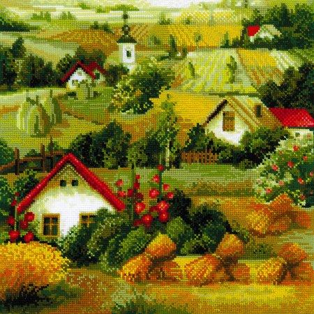 Tranh thêu chữ thập phong cảnh đồng quê đẹp