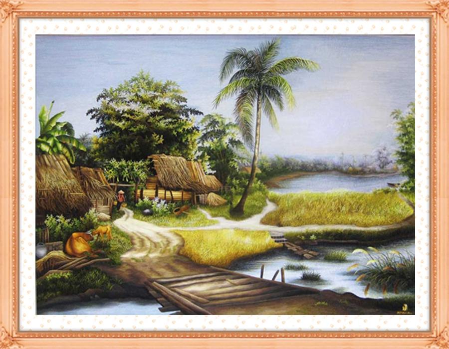 Tranh thêu chữ thập phong cảnh đồng quê Việt Nam