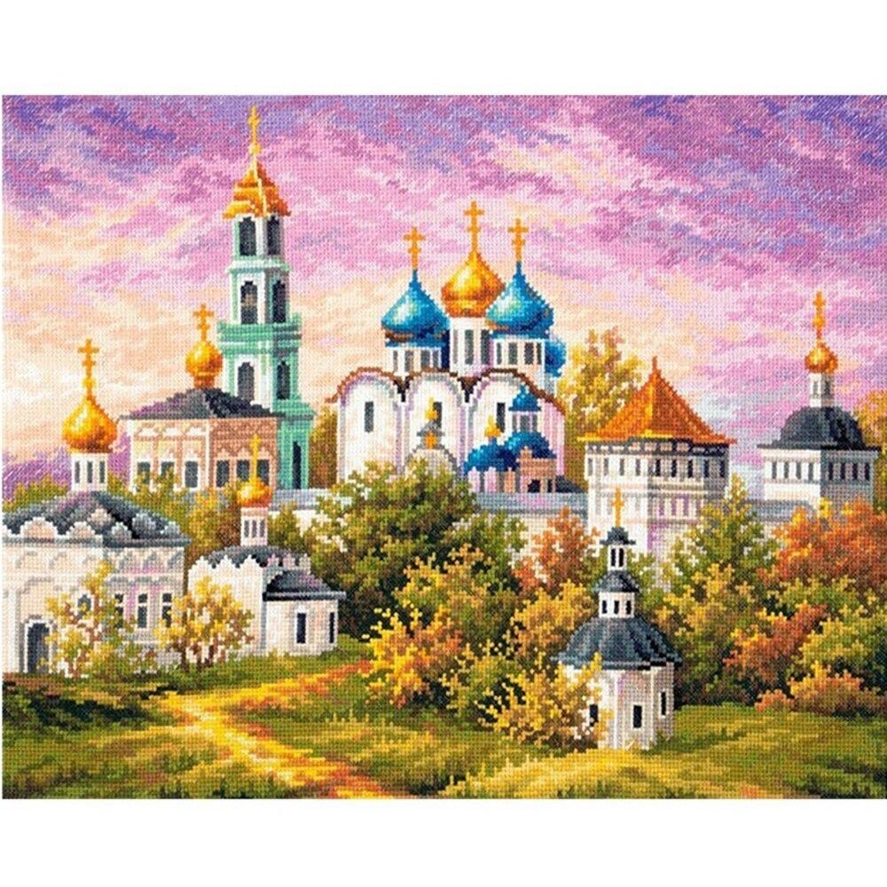Tranh thêu chữ thập phong cảnh lâu đài