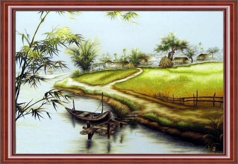 Tranh thêu chữ thập phong cảnh miền quê
