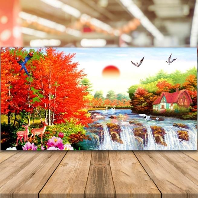 Tranh thêu chữ thập phong cảnh mùa thu