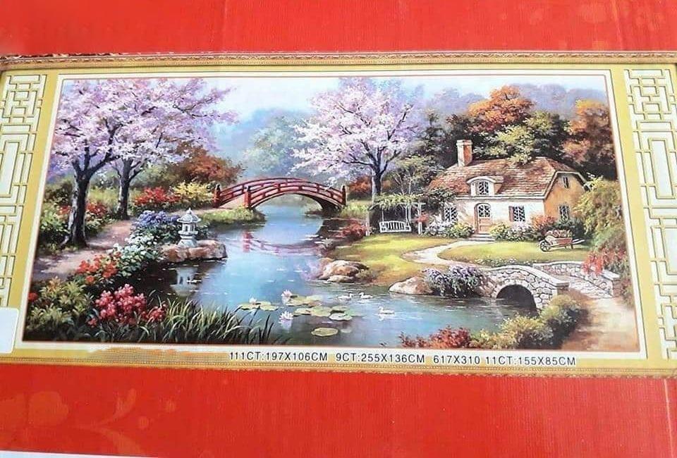 Tranh thêu chữ thập phong cảnh mùa xuân