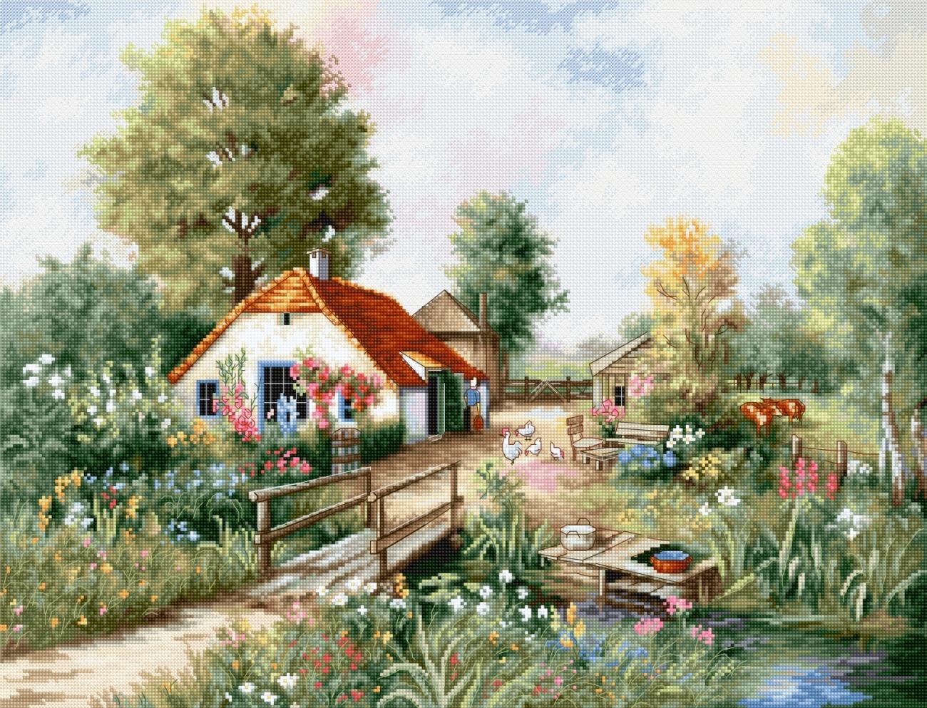 Tranh thêu chữ thập phong cảnh ngôi nhà nhỏ