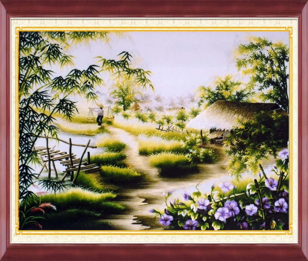 Tranh thêu chữ thập phong cảnh nhà mái lá