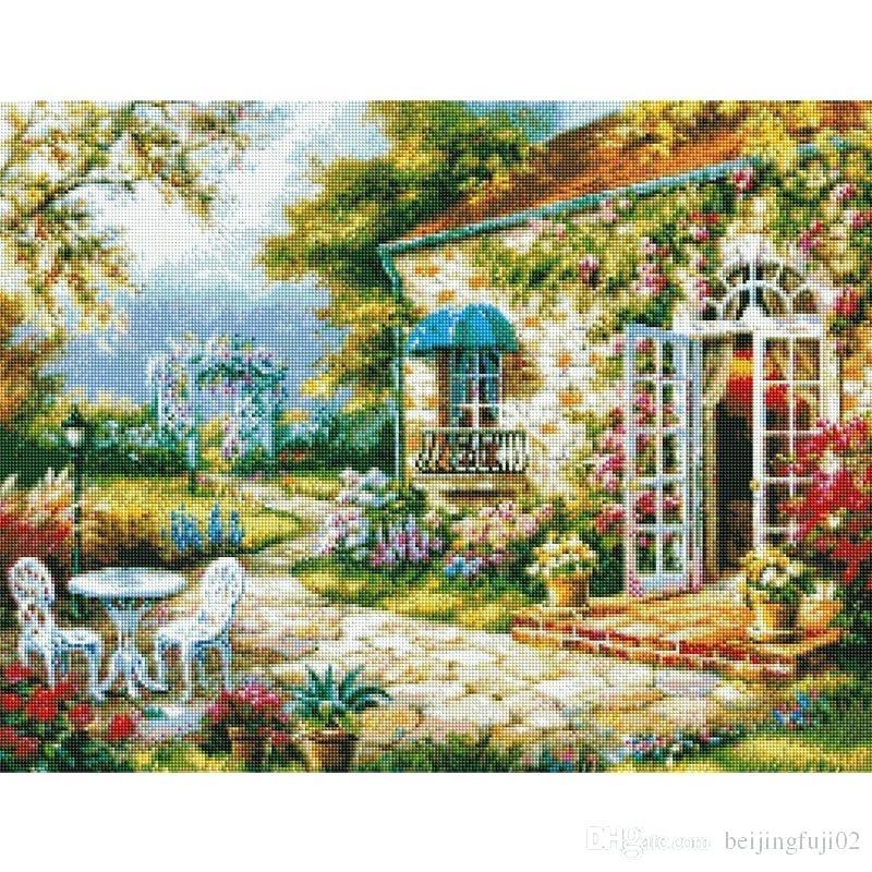 Tranh thêu chữ thập phong cảnh nhà ở