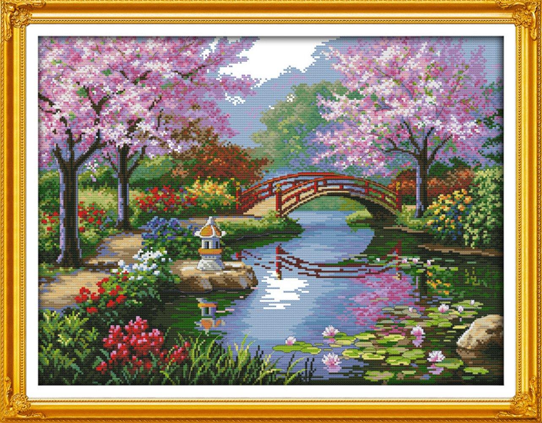 Tranh thêu chữ thập phong cảnh Nhật Bản