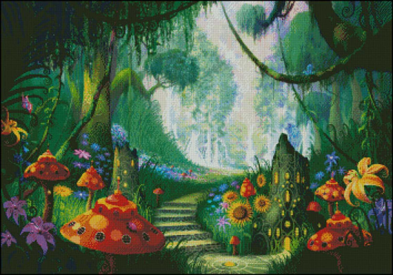 Tranh thêu chữ thập phong cảnh trong rừng