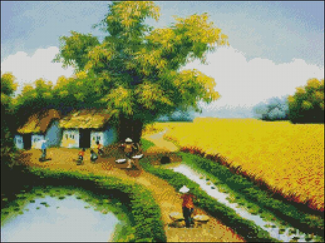 Tranh thêu chữ thập phong cảnh Việt Nam