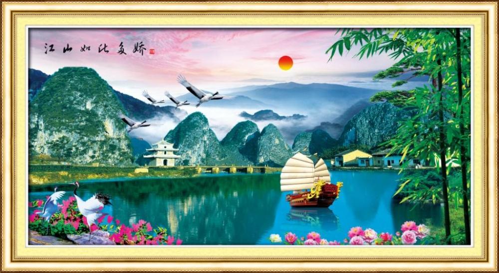 Tranh thêu chữ thập phong cảnh vịnh