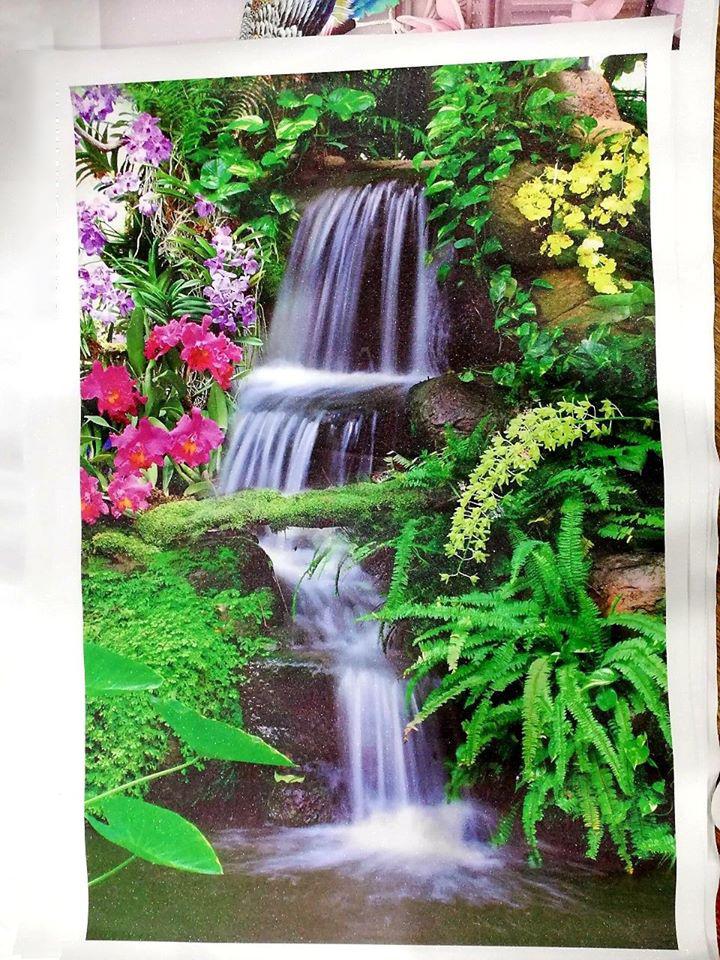 Tranh thêu phong cảnh thác nước