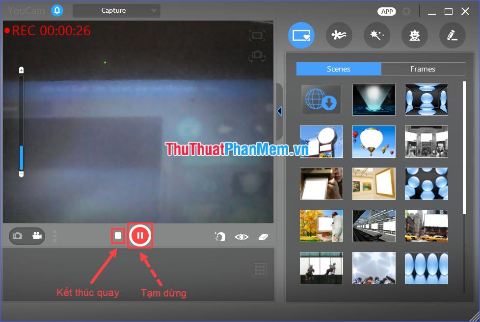 Chọn biểu tượng hình vuông hoặc nhấn phím F3 để kết thúc quay video