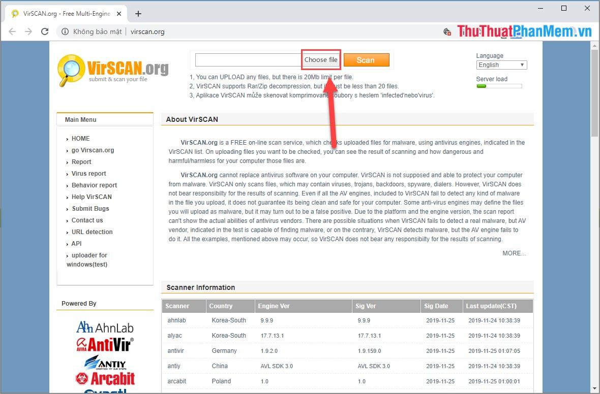 Chọn Choose file để tiến hành chọn file cần quét Virus