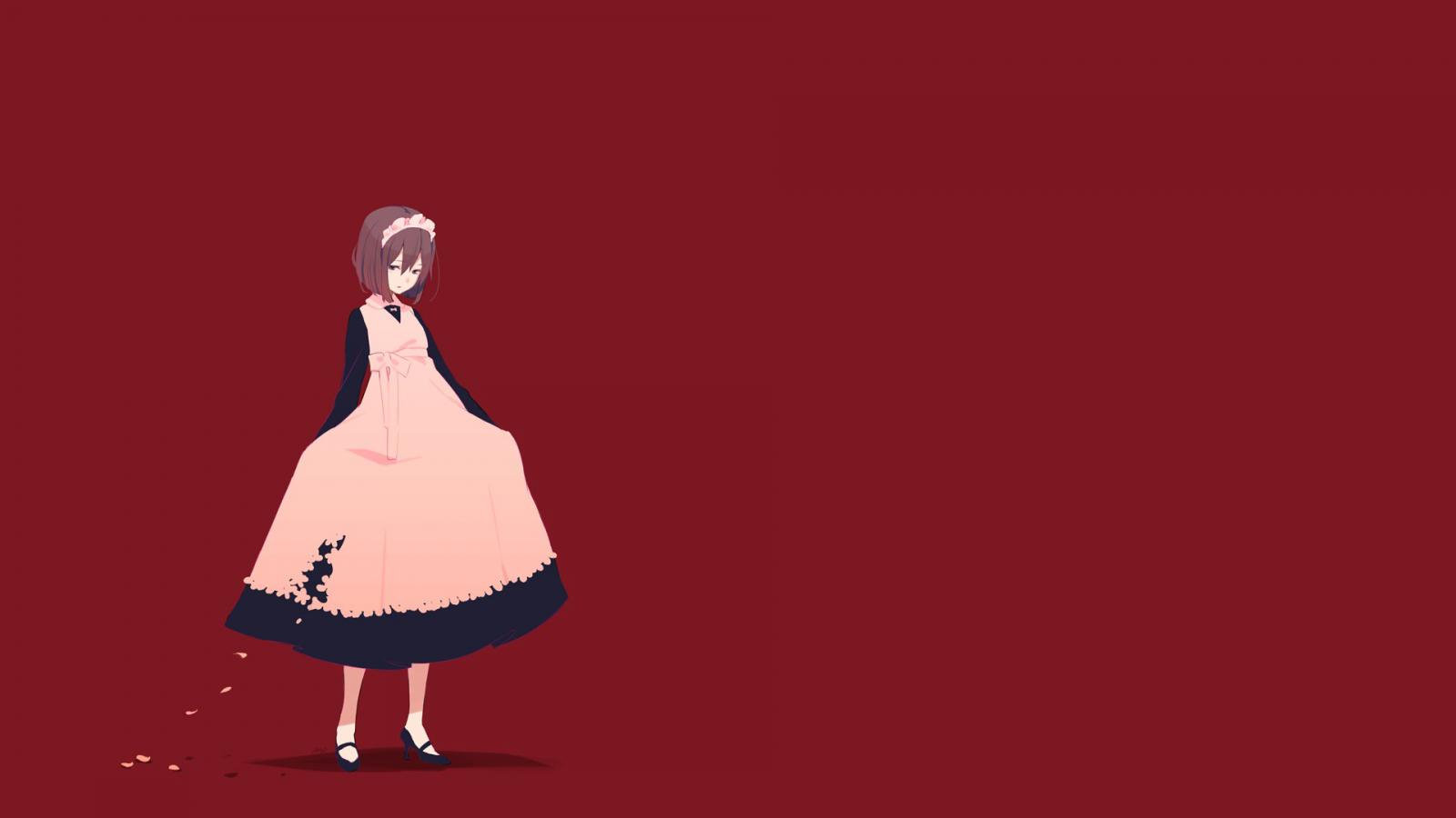 Hình nền màu đỏ anime girl
