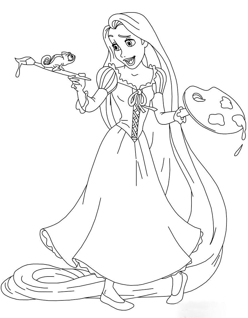 Hình vẽ công chúa tóc mây tô màu