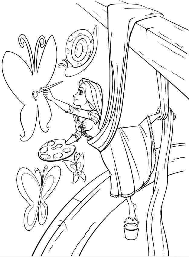 Hình vẽ tô màu công chúa tóc mây