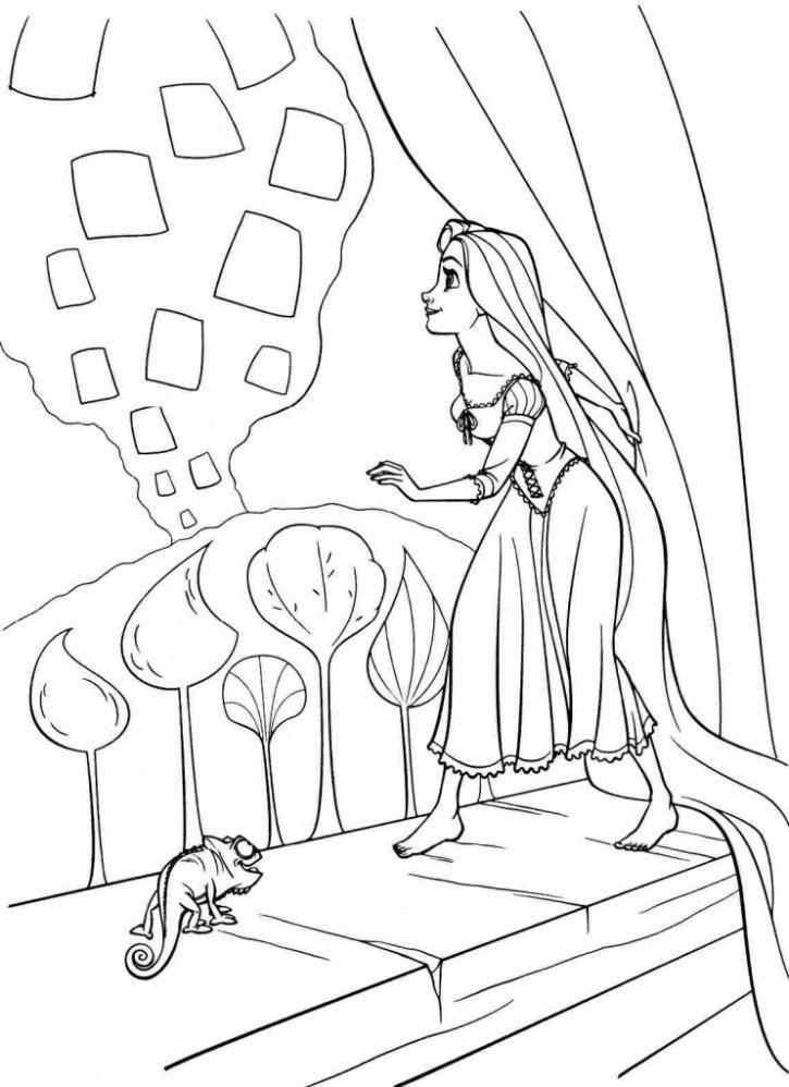 Mẫu tranh tô màu công chúa tóc mây