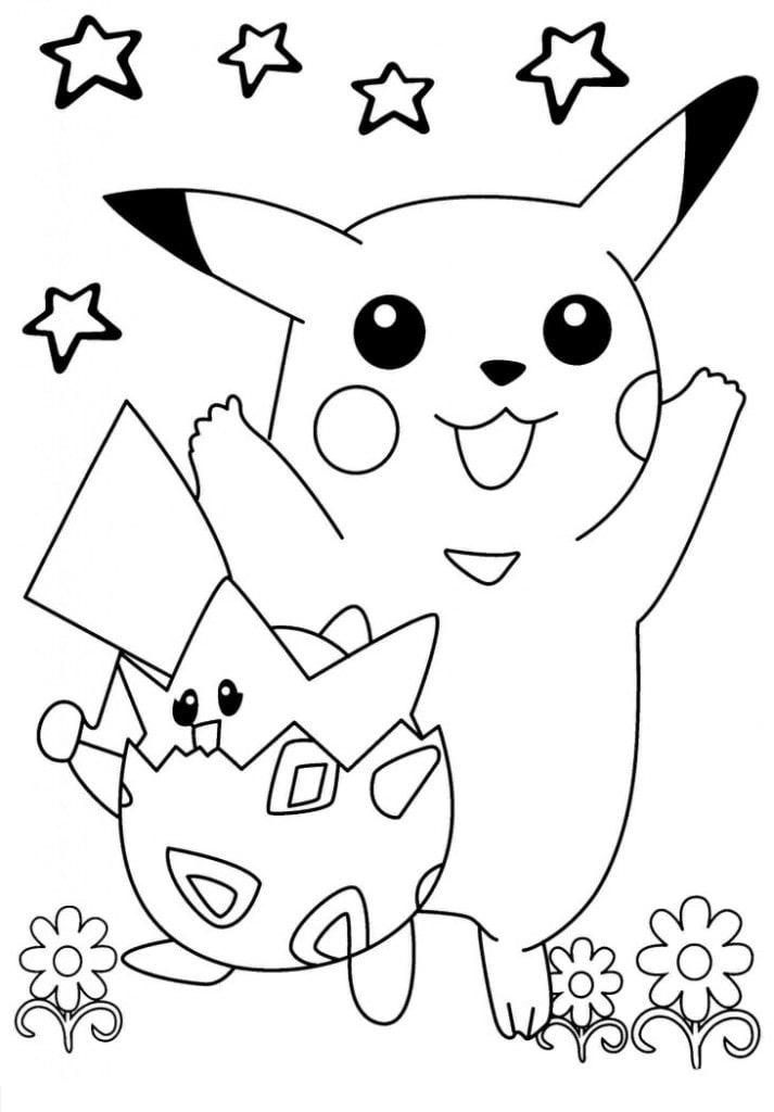 Mẫu tranh tô màu pikachu