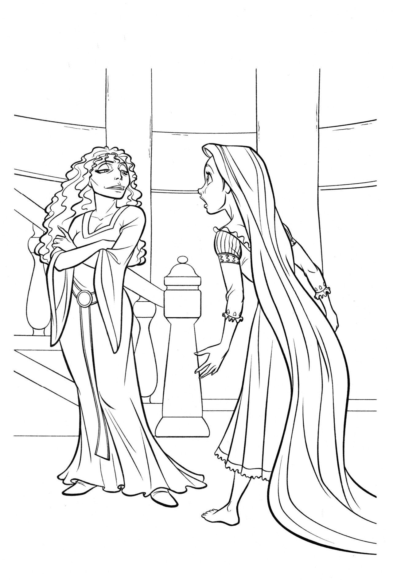 Tranh công chúa tóc mây và phù thủy tô màu