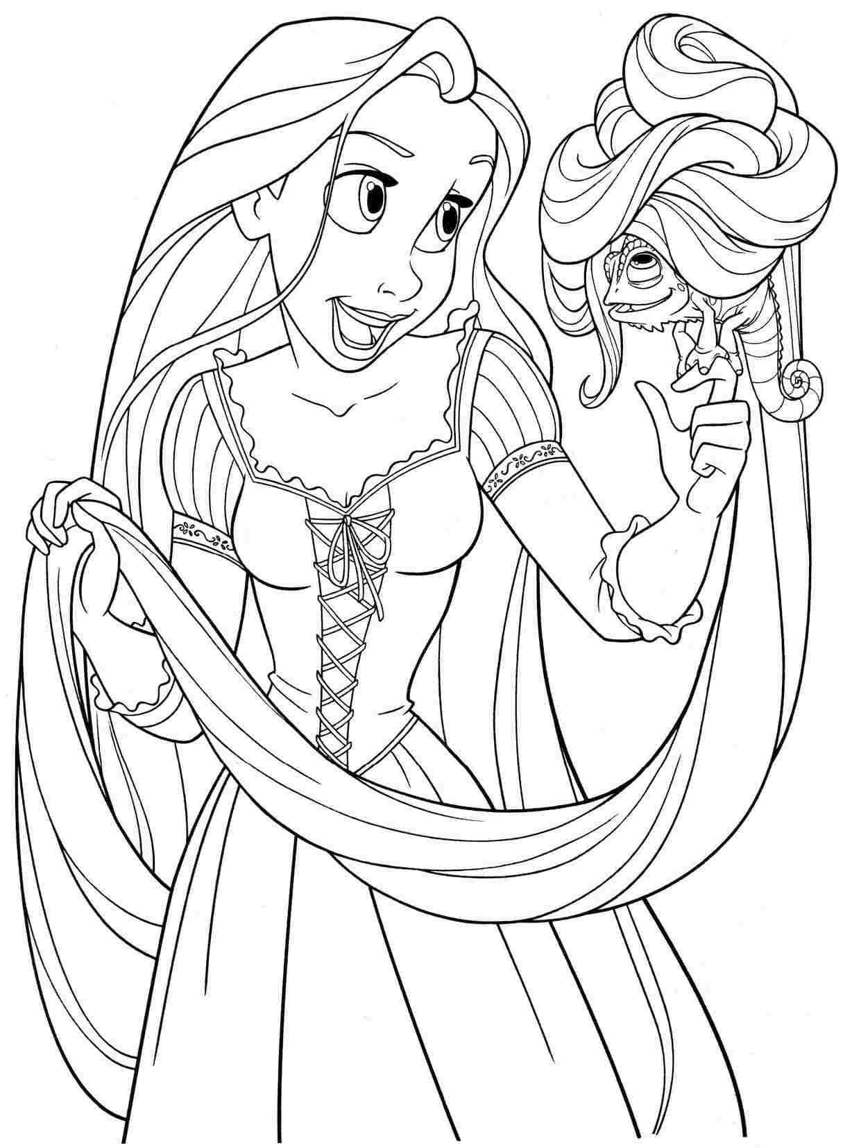 Tranh minh họa tô màu công chúa tóc mây