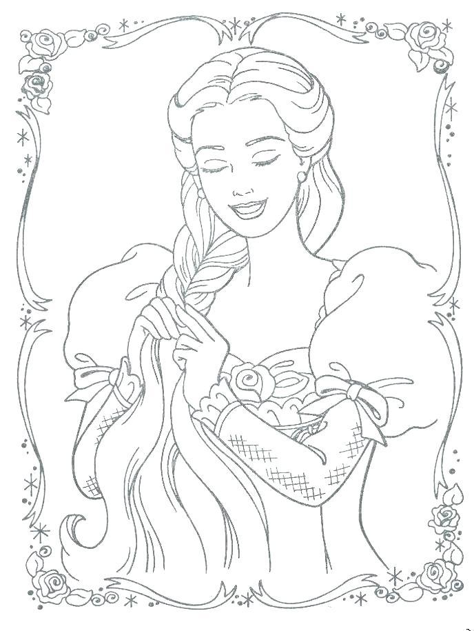 Tranh tô màu chân dung công chúa tóc mây