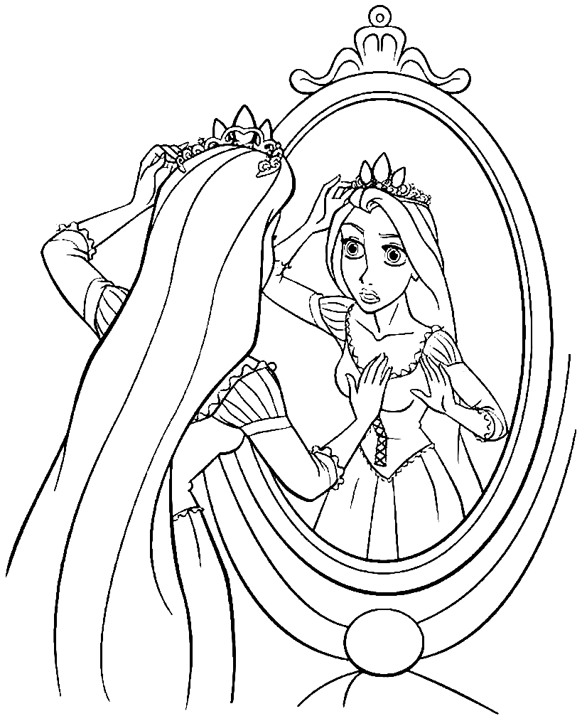 Tranh tô màu công chúa tóc mây buồn