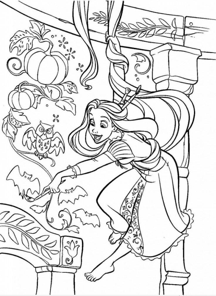 Tranh tô màu công chúa tóc mây cho bé