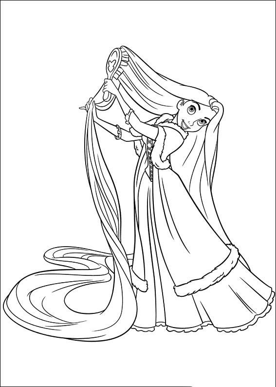 Tranh tô màu công chúa tóc mây đang chải tóc