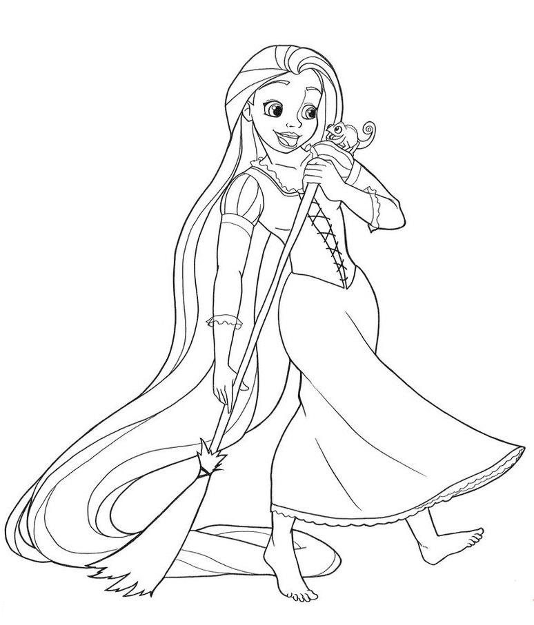 Tranh tô màu công chúa tóc mây đang dọn nhà