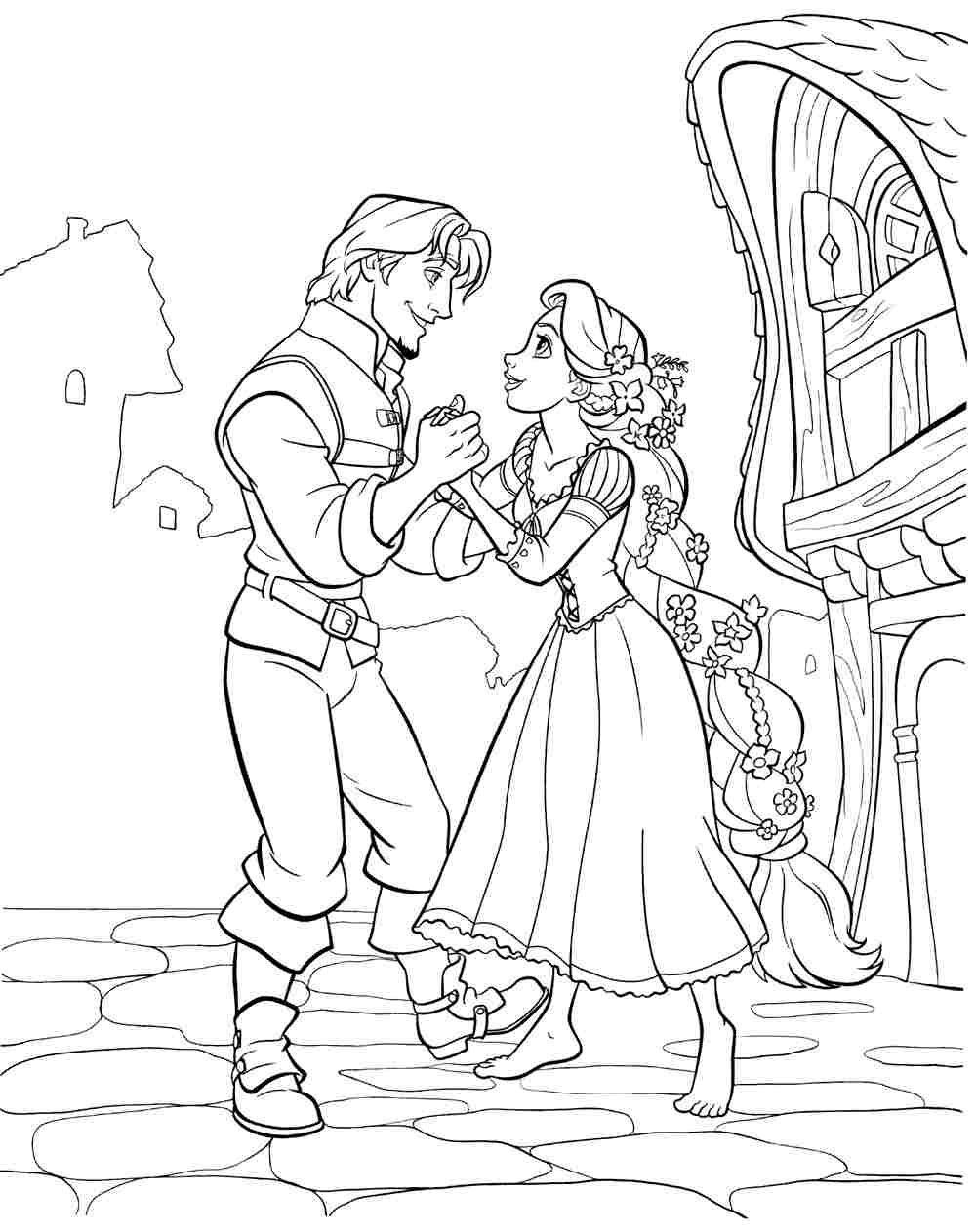 Tranh tô màu công chúa tóc mây đang khiêu vũ