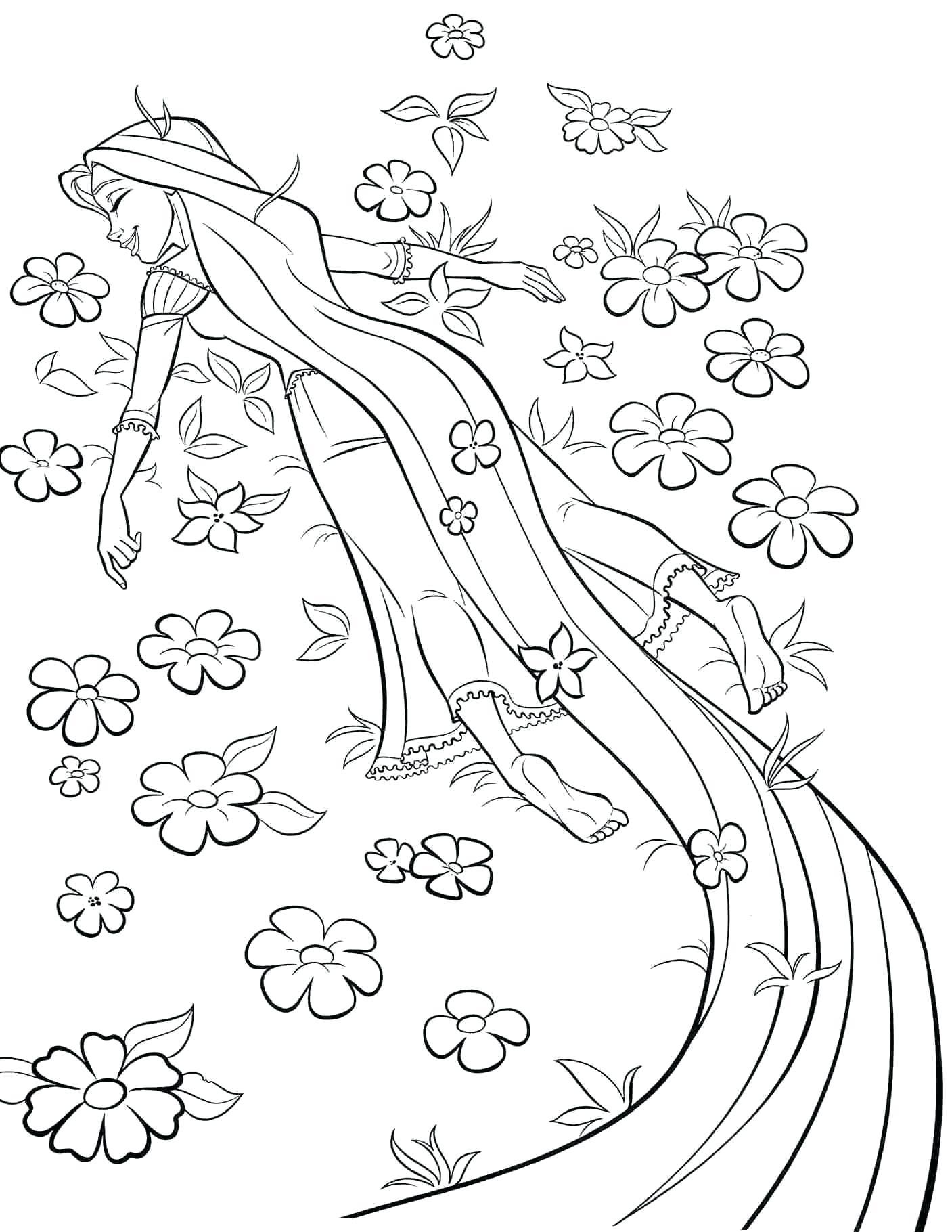 Tranh tô màu công chúa tóc mây đang ngủ