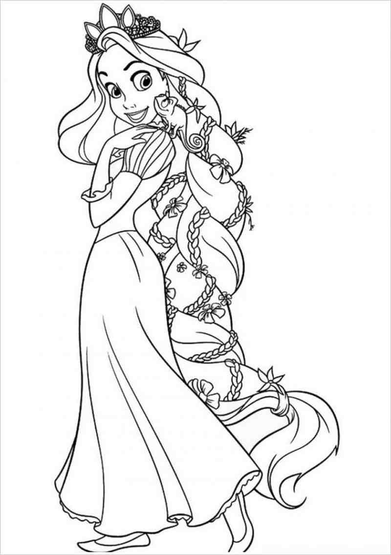 Tranh tô màu công chúa tóc mây đẹp