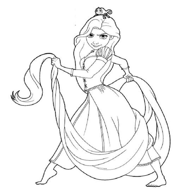 Tranh tô màu công chúa tóc mây giận dữ