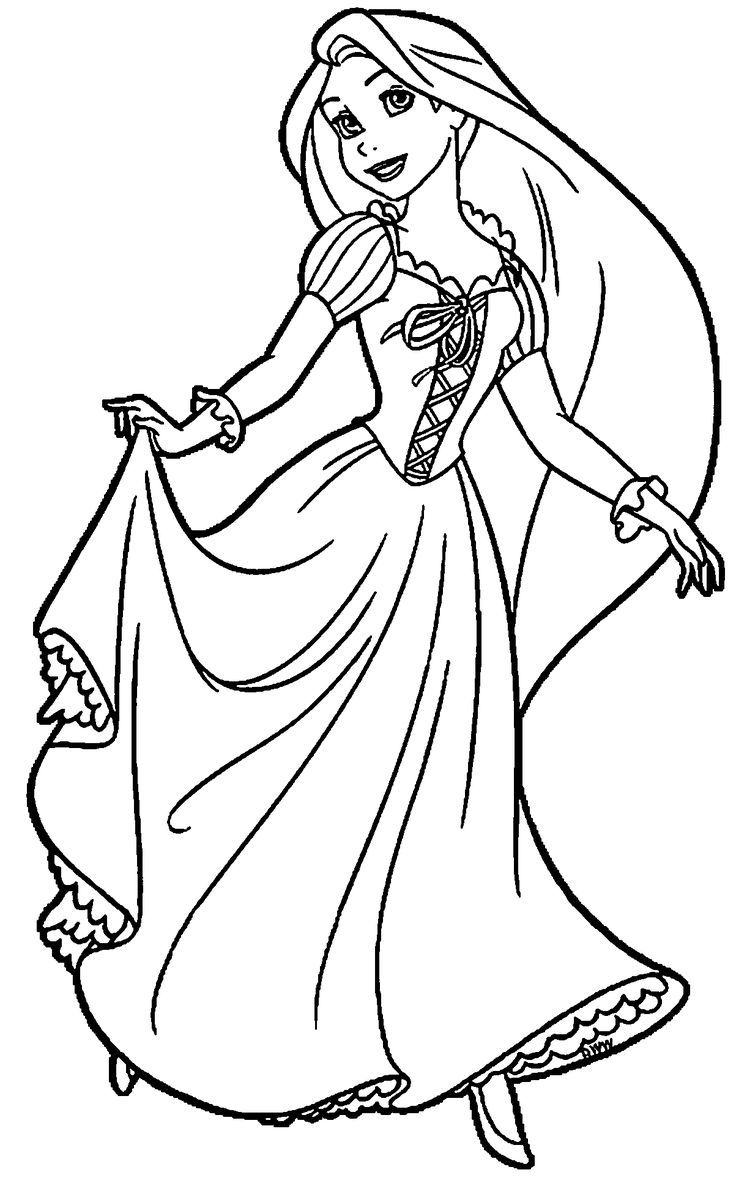 Tranh tô màu công chúa tóc mây hoạt hình