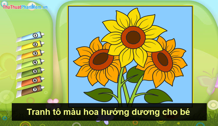 Tranh tô màu hoa hướng dương cho bé