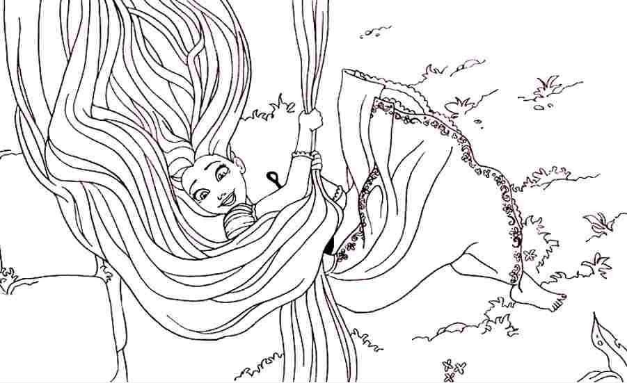 Tranh tô màu hoạt hình công chúa tóc mây