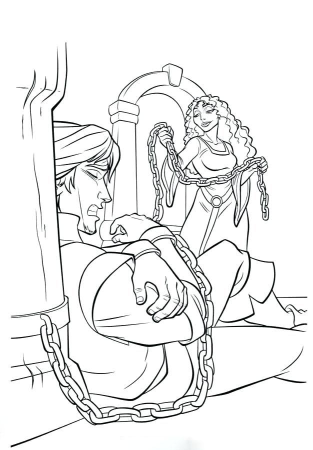 Tranh tô màu nhân vật trong công chúa tóc mây