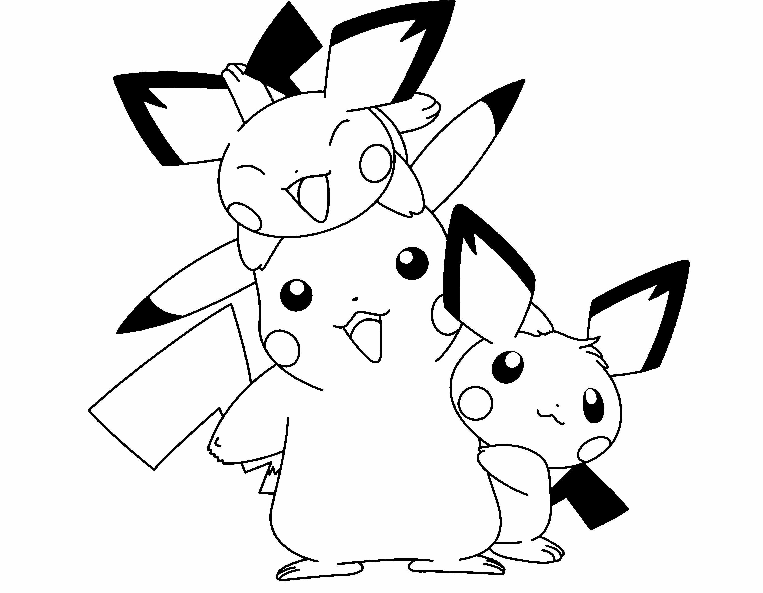 Tranh tô màu những chú pikachu ngộ nghĩnh